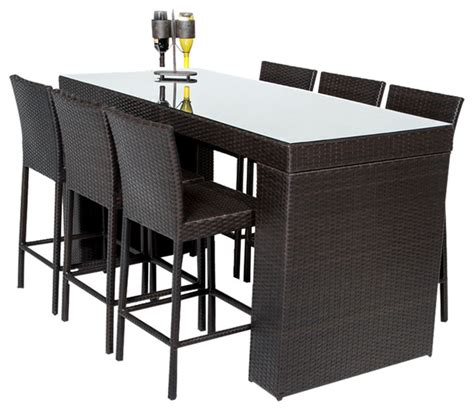 bar table set with barstools 7 outdoor wicker patio