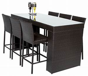 Bar table set with barstools 7 piece outdoor wicker patio for Tropical home bar furniture