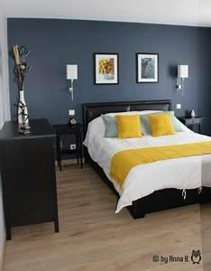 Chambre Parentale Cosy : mur bleu dans la chambre visite d 39 un appartement ~ Melissatoandfro.com Idées de Décoration