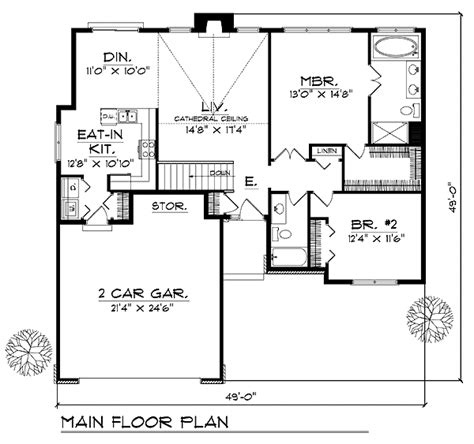 House Plan 73274 Ranch Style with 1381 Sq Ft 2 Bed 2