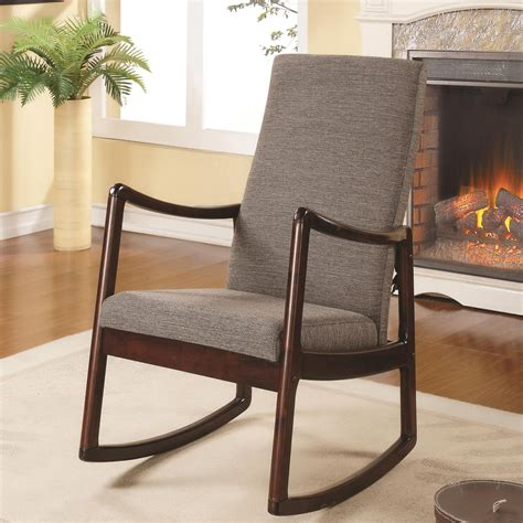 600196 mid century upholstered modern rocking chair