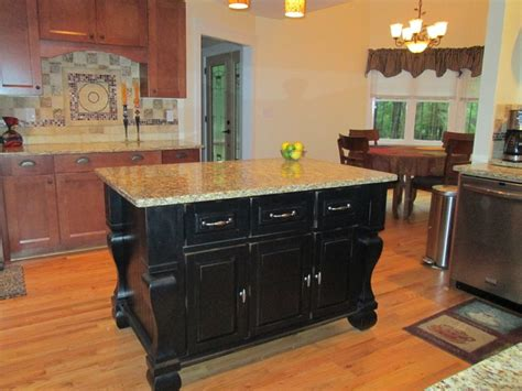attractive black kitchen island completed
