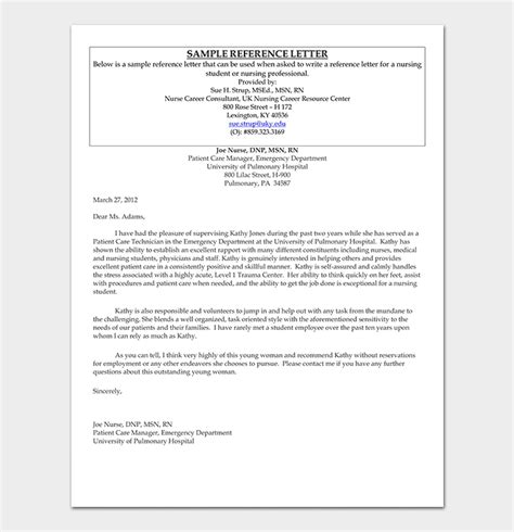 nursing reference letter  sample letters
