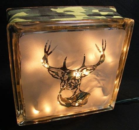 sandblasted running deer glass block light deer glass