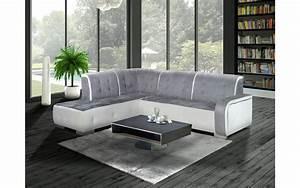 Canapé D Angle Gris : canap d 39 angle gauche florida gris et blanc top d co ~ Teatrodelosmanantiales.com Idées de Décoration
