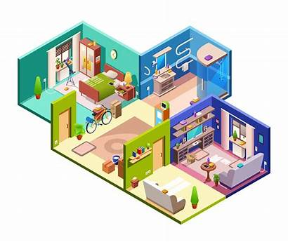 Isometric Section Cross Illustration Plan Flat Apartment