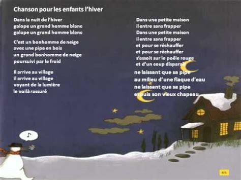 chanson pour enfants l hiver