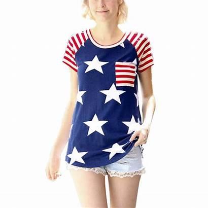 American Flag Patriotic Short Shirts Tops Striped