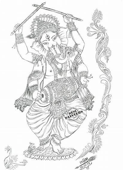 Ganesh Ganesha Drawings Pencil Drawing Dancing Desipainters