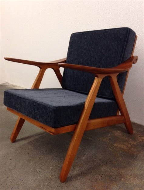 mid century modern style teak lounge chair komfort