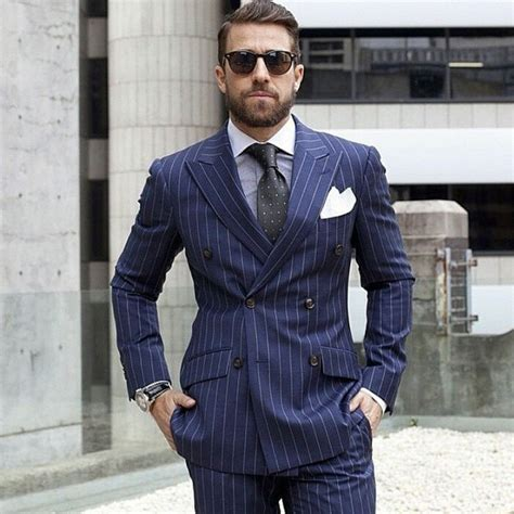 navy blue man suit double breasted pinstripe men suits