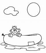Raft Coloring Rafting Template River Pool sketch template