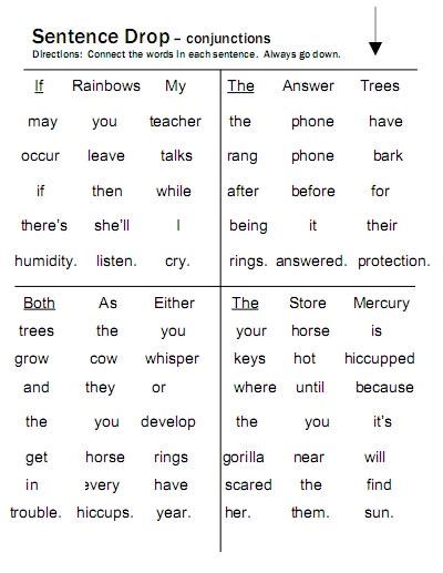 conjunctions free language stuff