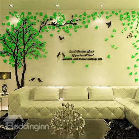creative green tree  bird pattern crystal acrylic