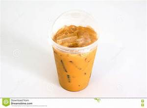 Iced Thai Tea In Plastic Cup Stock Photo - Image: 74185992