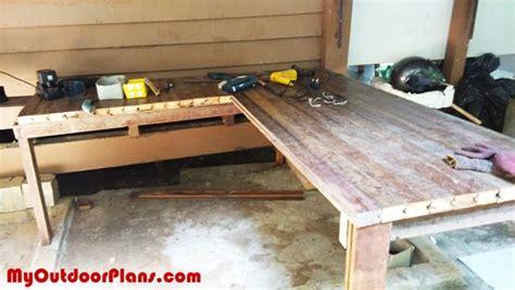 diy  shaped workbench myoutdoorplans  woodworking