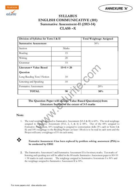 class  cbse english commuicative sample paper term