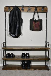 Industrial, Style, Entryway, Bench, With, Coat, Rack, And, Shoe, Rack, Mudroom, Organization, Coat, Hook, And