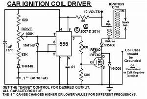 car ignition coil driver With with an auto ignition coil and a simple electronic circuit