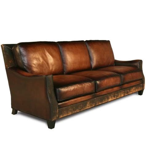 distressed brown leather sofa distressed handmade brown leather sofa