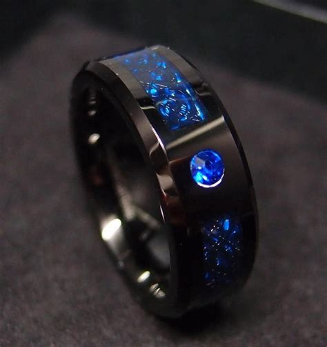 mm tungsten carbide ring celtic dragon blue sapphire