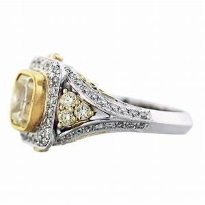 cushion cut fancy yellow diamond engagement ring 18k two With fancy diamond wedding rings