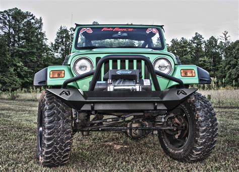 jeep lifestyle tj lj lifestyle winch bumper fab fours