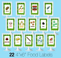 Minecraft Printable Food Labels