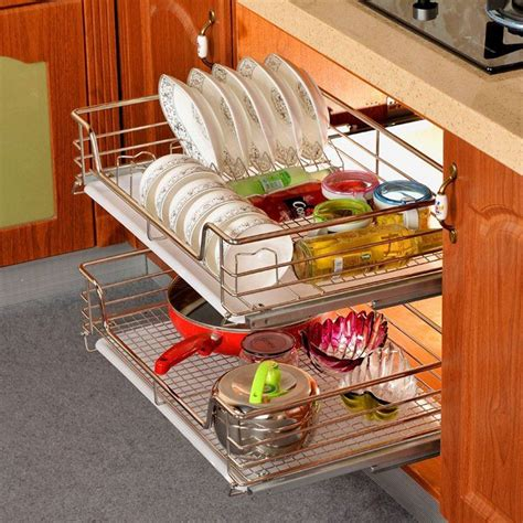 kitchen storage basket kitchen pantry pull out sliding shelf basket drawer 3118