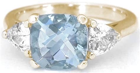 cushion cut aquamarine engagement rings   stone