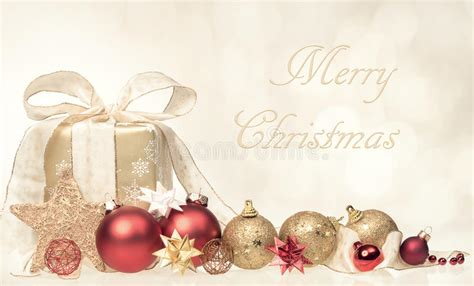 merry christmas card with gift and ornaments image 58843352