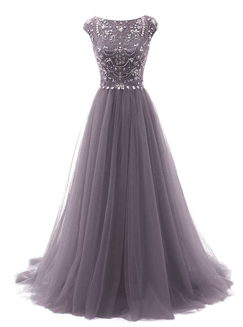 tideclothes long beads prom dress tulle cap sleeves
