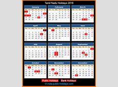Tamil Nadu Holidays 2018