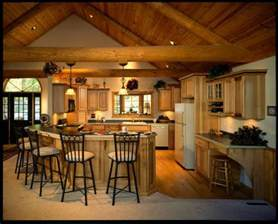 rustic kitchen with vaulted ceiling hardwood floors