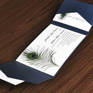 unique peacock white and blue pocket wedding invites with With creative inexpensive wedding invitations