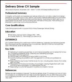 resume template for delivery driver position delivery driver cv sle myperfectcv