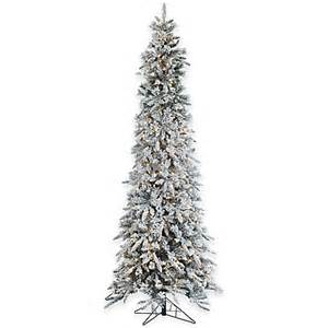 7ft Snowy Christmas Tree by 9 Foot Narrow Flocked Barrington Artificial Pencil Pine