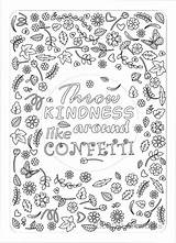 Coloring Pages Confetti Kindness Adult Printable Sheets Throw Printables Colouring Grown Ups Around Sold Etsy sketch template