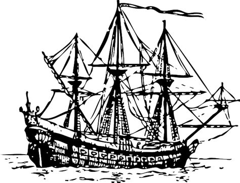 Old Sailboat Outline by Outline Ship Boat Ocean Century Sea Sail Public