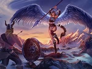 viking, and, girl