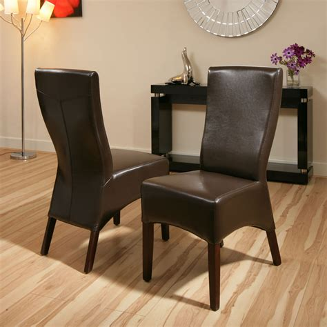 high quality dining chairs brown leather high back