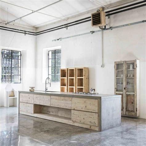 cuisine bois beton intérieurs modernes en béton et bois une alliance