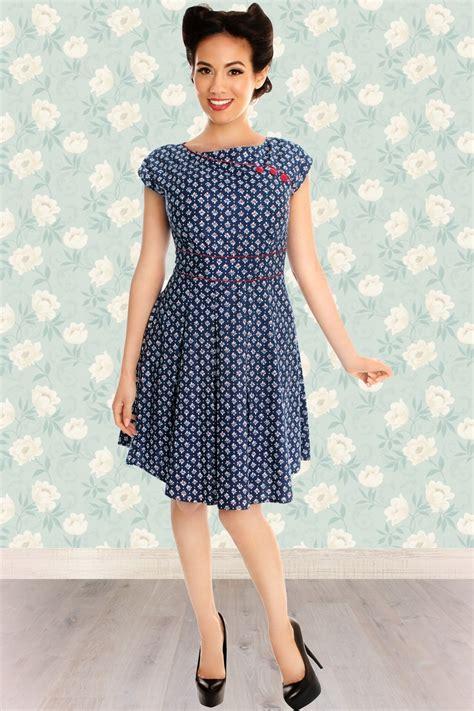 blue m dress 14600 50s dot floral dress in blue