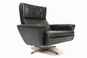 Georg, Thams, Danish, Mid, Century, Modern, Black, Leather, Swivel, Lounge, Chair