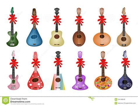 Set Of Beautiful Ukulele Guitars With Red Ribbon Royalty