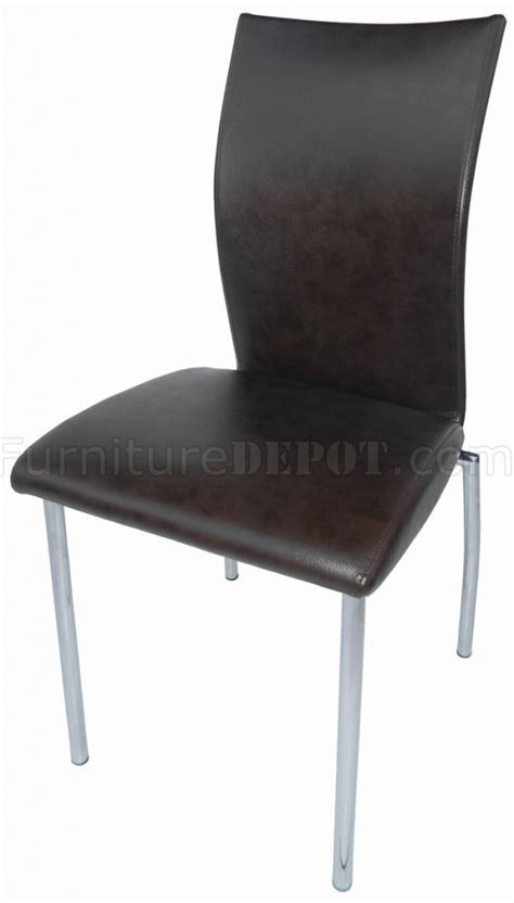 brown bonded leather set of 4 modern dining chairs