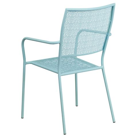 sky blue indoor outdoor steel patio arm chair with square
