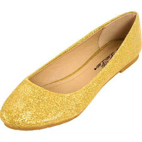 womens glitter ballet flats slip  shoes sparkle
