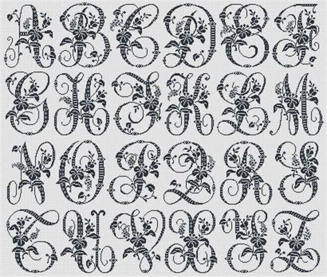 antique alphabet monogram cross stitch pattern floral alphabet