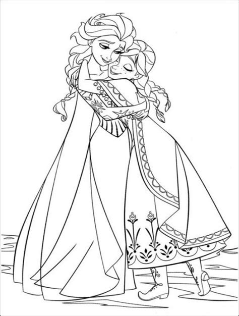 elsa  anna hugging  coloring page frozen coloring